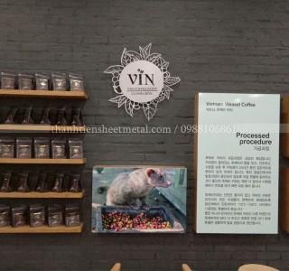 Cắt khắc chữ logo biển hiệu quảng cáo Vin Coffee Farm